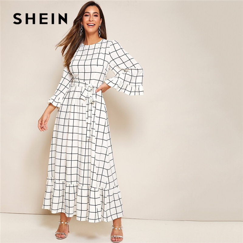 SHEIN Abaya Bell Sleeve Flounce Hem Grid Belted Maxi Dress Women Autumn Zip Back Round Neck Elegant A Line Plaid Modest Dresses