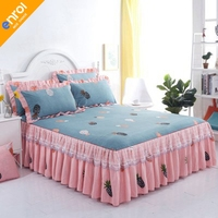 Han version bed skirt three piece set [bed skirt + pillowcase a pair] lace princess wind non slip bed cover style single piece