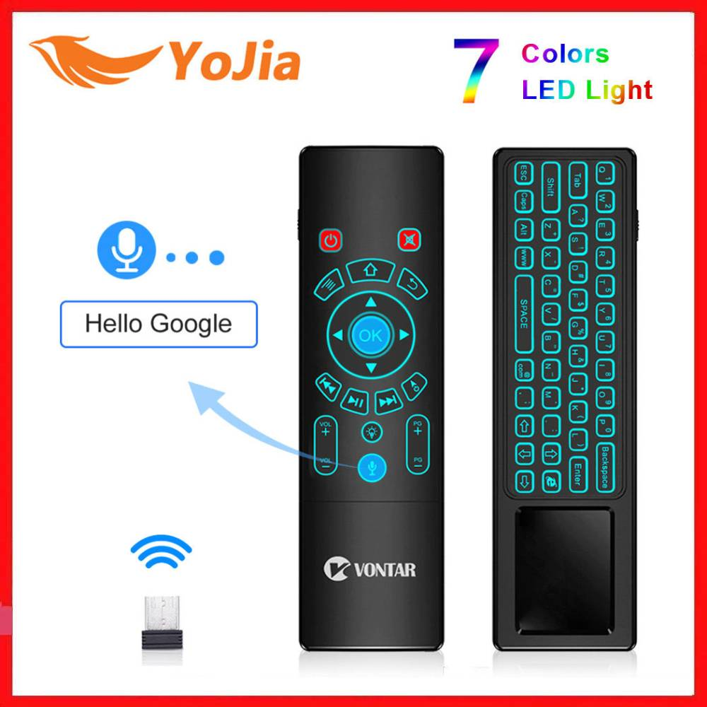 T6 <font><b>T8</b></font> <font><b>Plus</b></font> Voice Remote Control 2.4G Wireless Fly Air Mouse mini keyboard English Russian 7 Colors Backlight for Android V Box image