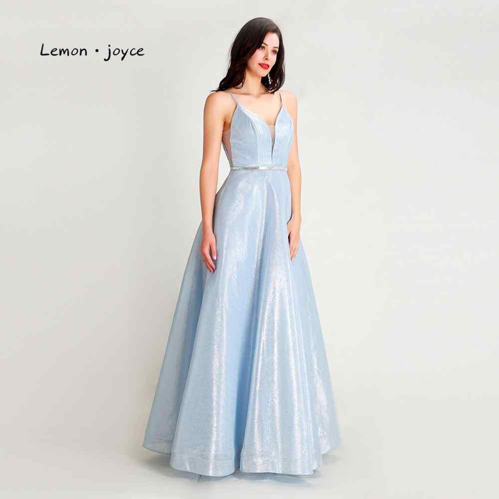 Лимонный светильник joyce синие платья для выпускного вечера 2020 сексуальные с v-образным вырезом без спинки Простые Вечерние платья вечерние платья размера плюс