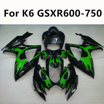 Green flame Motorcycle For Suzuki GSXR600 GSXR750 GSXR 600 K6 2006-2007 Full Fairing Kits ABS Injection Molding Kit 3 Colour