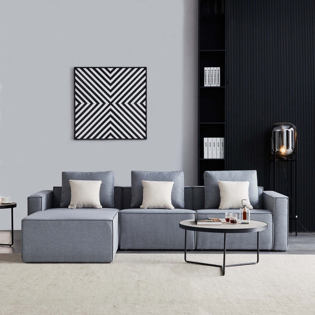 L-Shape Sofa Linen Sectional With Wide Armrest-Grey Modern Living Room Decorative Fast Shipping 2