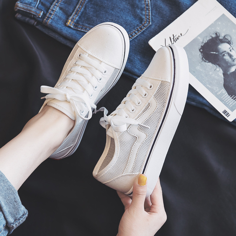 2019 Summer Mesh New Style Black WOMEN'S Canvas Shoes Korean-style Versatile Cloth Shoes INS Street Snap Super Fire MacBook Skat
