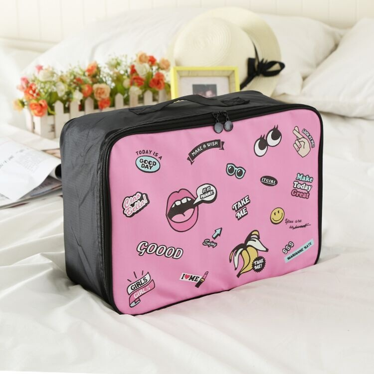 HJKL New Boarding Bag Oversized Luggage And Clothing Carry-on Bag Cosmetic Bag Cute Mouth Carry-on Bag