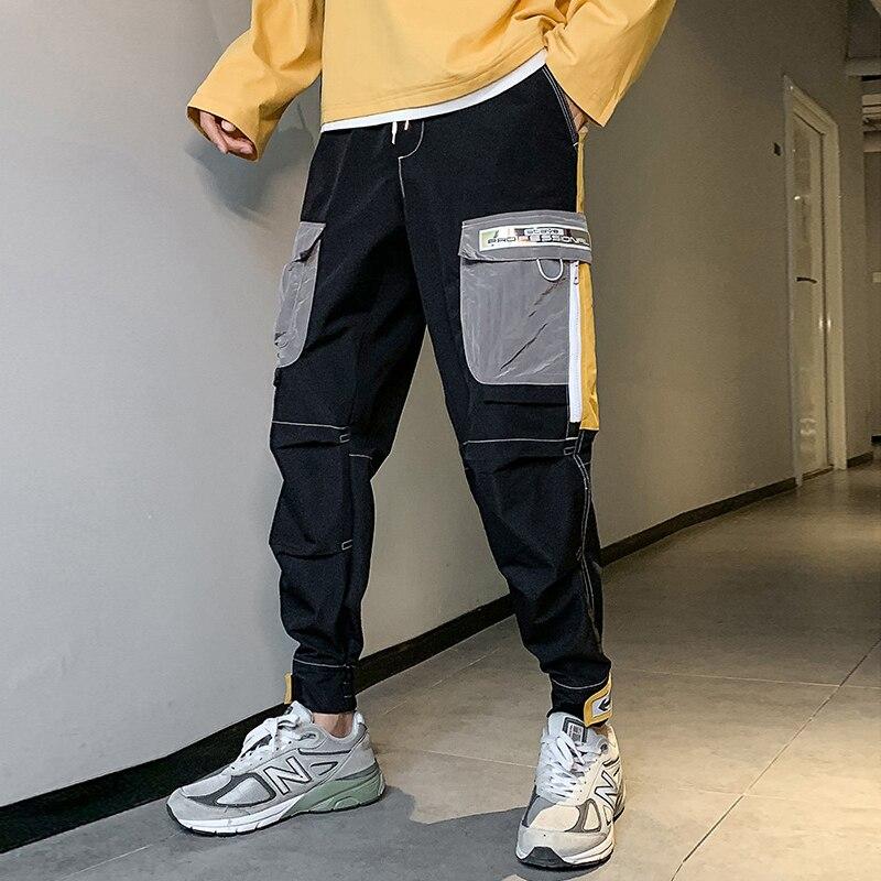 Streetwear Casual Harem Men's pants Big Pockets Joggers Men Ankle-length Cargo Pants For Men