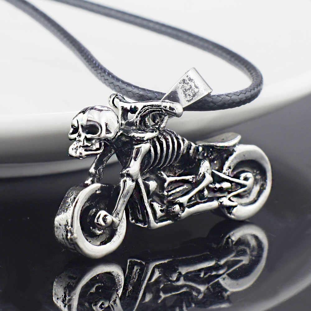 Mężczyzna Gothic Punk szkielet motocykl tytanowa stal nierdzewna skórzany łańcuszek naszyjnik X545