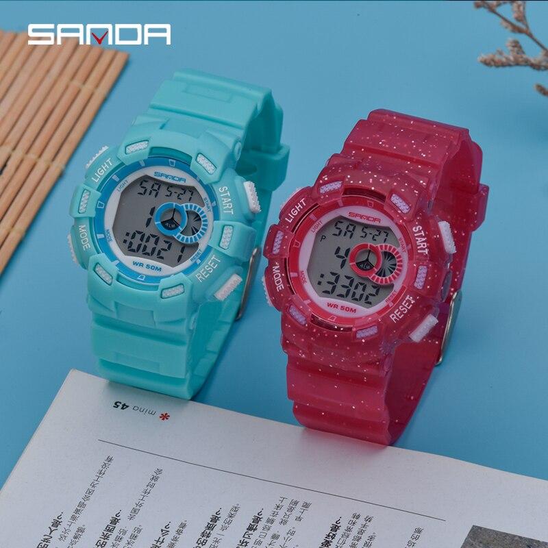 Kids Watches Alarm-Clock Colorful Girls Waterproof Boys Luminous Calendar 50m Display