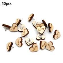 50 шт/лот nautral сердце деревянные штифты thumbtacks стальная
