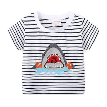 2020 chłopcy T-shirt letni Top dzieci Tshirt bawełna Shark ubrania Koszulki Koszulki Koszulki Koszulki Roupa Infantil Enfant topy tanie i dobre opinie jumpingbaby COTTON Poliester CN (pochodzenie) Europejskich i amerykańskich style Cartoon REGULAR O-neck Krótki Pasuje prawda na wymiar weź swój normalny rozmiar