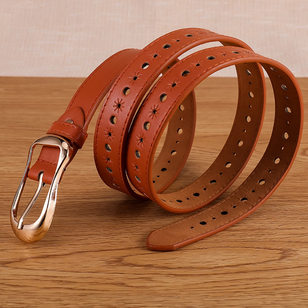 Women Fashion Wide Leather Belt Pure Color Waistband Carved Cow Skin Belts For Jeans Top Quality Female Straps Vintage Femme 916