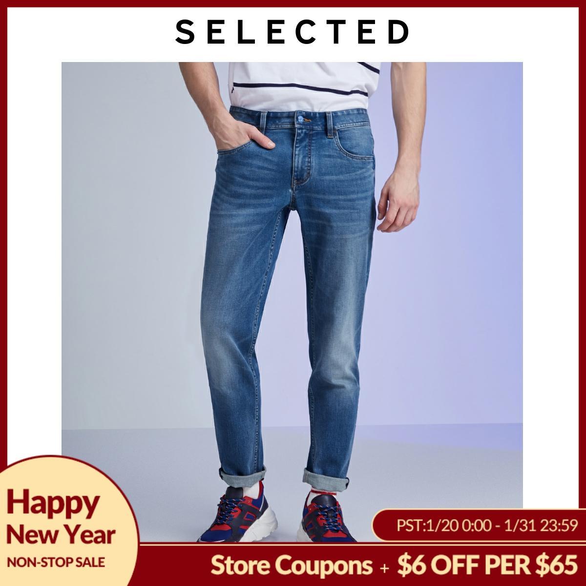 SELECTED Men's Slim Fit Denim Pants Stretch Cotton-blend Slim Fit Jeans LAB|419432523