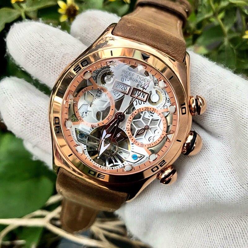 Reef Tiger/RT Sport Watch For Men Skeleton Luminous Watch Year Month Date Day Rose Gold Automatic Watches RGA703|watch for|watches for mentiger tiger - AliExpress