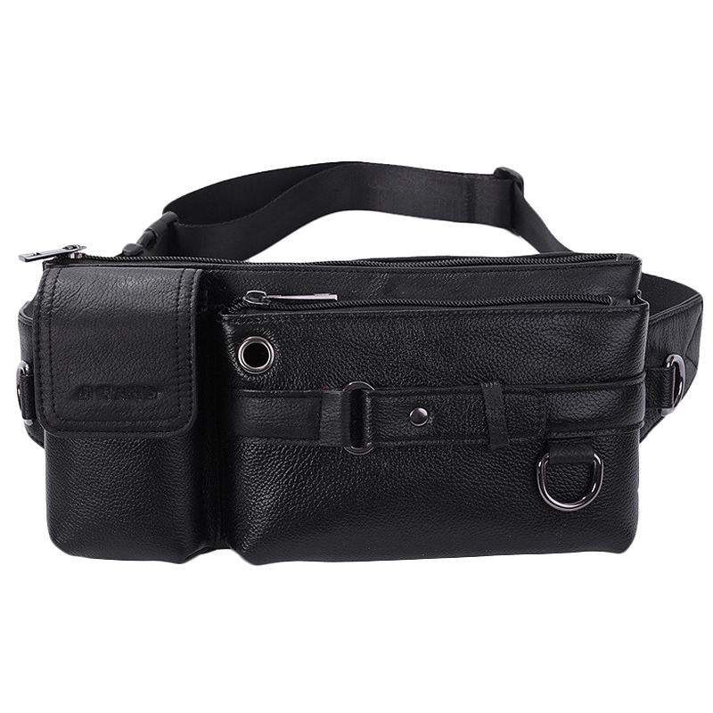 YIANG Men Genuine Leather Casual Shoulder Bag Outdoor Sports Running Chest Bag Mobile Phone Bag Travel Belt Pouch Fanny Pack Wai