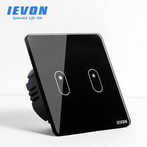 Настенный сенсорный выключатель IEVON, европейский стандарт, настенный светильник, переключатель из хрустального стекла, сенсорная панель, 2 ...