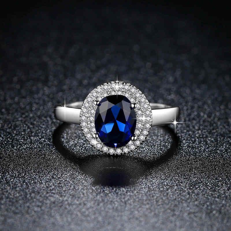 الأزياء منتج جديد حزب عطلة مجوهرات سيدة حلقة جولة متعددة الحفر الياقوت الأزرق AAA الزركون مخالب مجموعة مع الطبيعي الحجارة