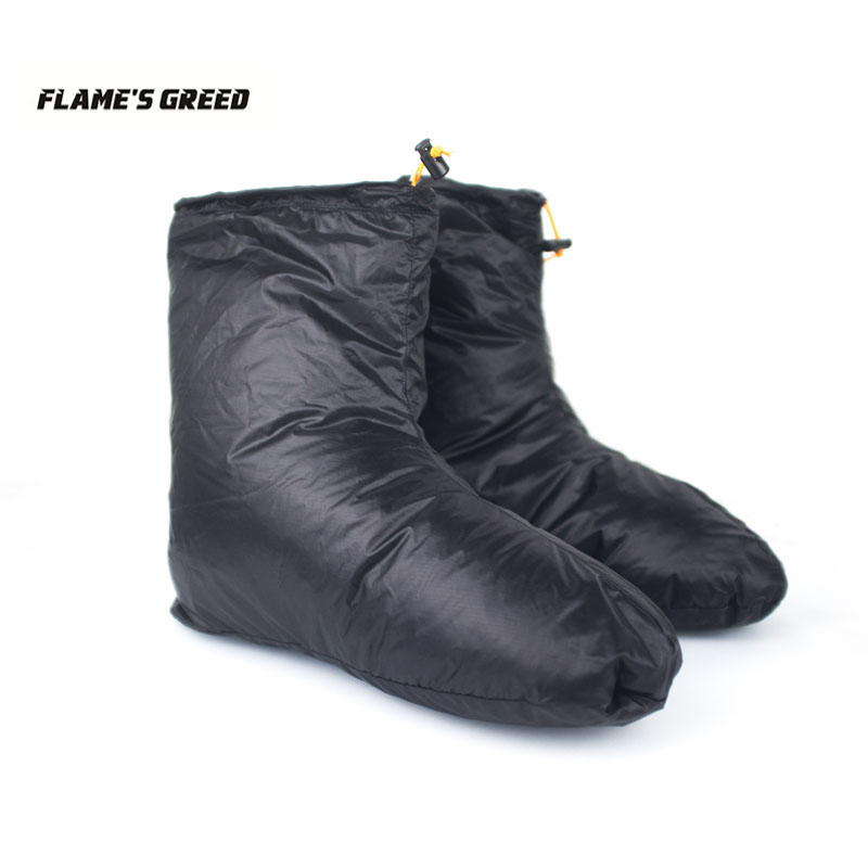 FLAME'S CREED Sleeping Bag Accessories White Goose Down Slippers Outdoor Camping Down Socks Warm Water Resistant Unisex