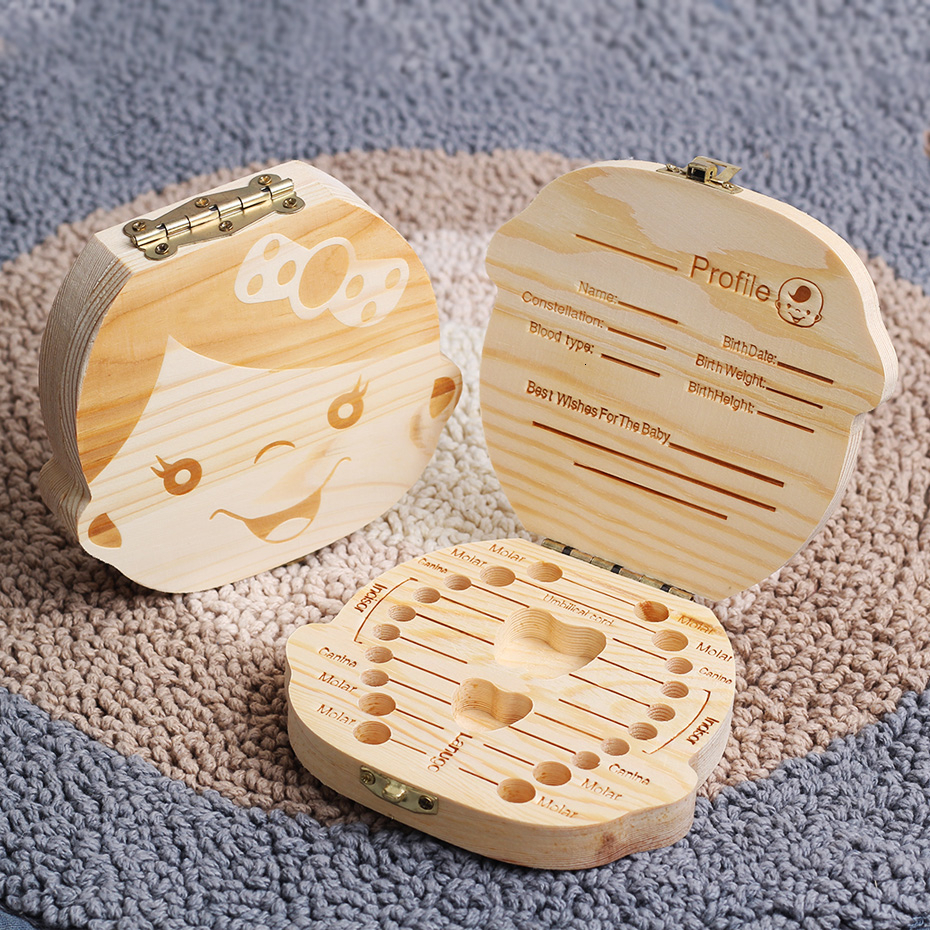 English/Spanish Wooden Baby Tooth Box  Milk Teeth Storage Umbilical Lanugo Save Collect Baby Souvenirs Gifts Boy Girl 2-3years