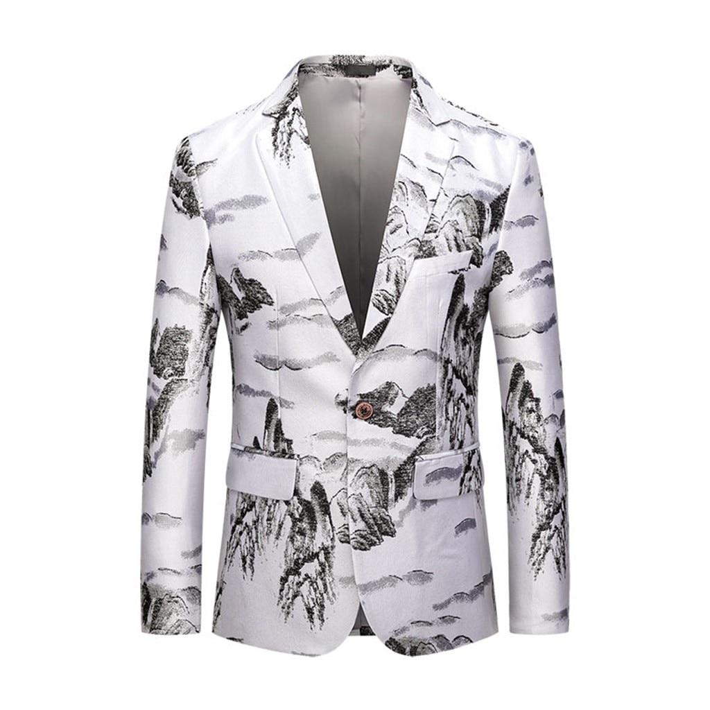 Men's Casual Business Wedding Long Sleeve Print Floral Suit Coat Jacket Chaqueta De Vestir Hombre Dropshiping 2019 W902