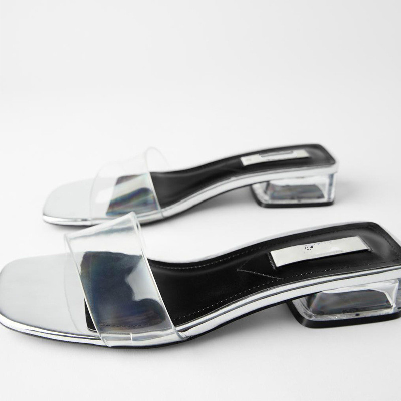 Silver White PVC Mid-heeled Sandals And Slippers 2020 New European And American Style Word With Open Toe Back Thick Heel Slipper