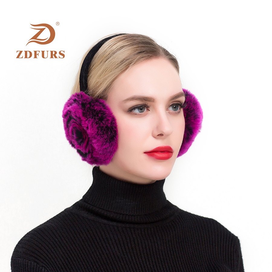 ZDFURS*Winter Earmuffs Real Rabbit Fur Warm Earmuffs Lovely Rose Earlap Russian Female Genuine Fur Plush Ear Muff Natural Fur