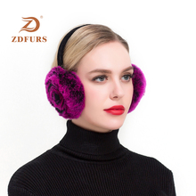 ZDFURS*Winter Earmuffs Real Rabbit Fur Warm Lovely Rose Earlap Russian Female Genuine Plush Ear Muff Natural