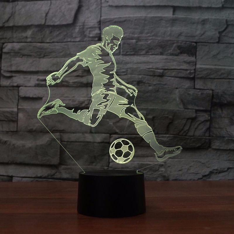 3D LED Lamp The Sports Playing Football Novel Gift for Fans Laser Touch Sensor Led Night Light Table Lamp for Home Decorative image