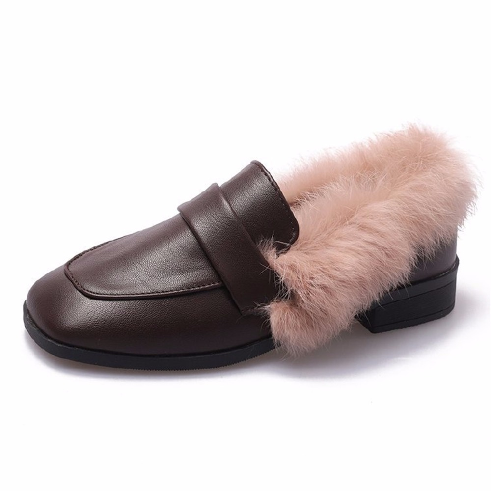 Autumn winter casual women shoes fluffy warm fluffy lining fashion black brown square toe women's shoes 31