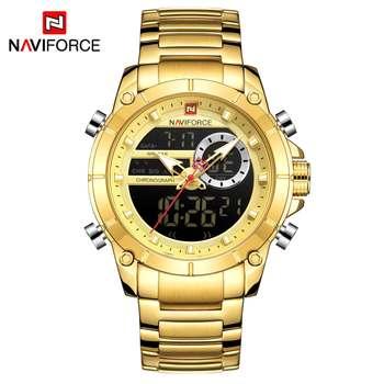 NAVIFORCE Men Military Sport Wrist Watch Gold Quartz Steel Waterproof Dual Display Male Clock Watches Relogio Masculino 9163 9