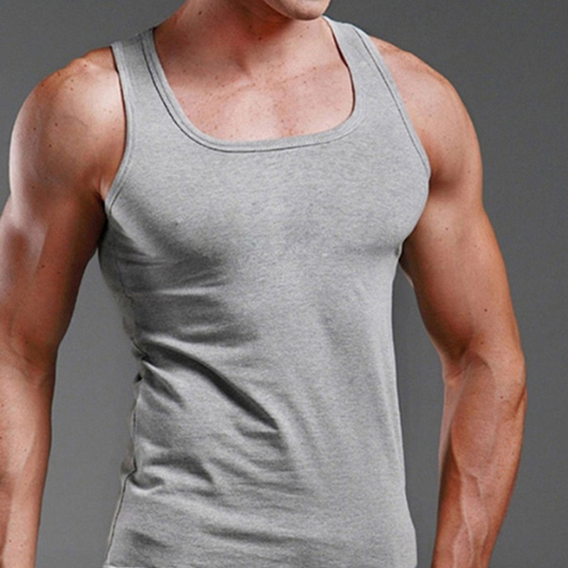 Men Cotton Fabric Summer Fashion Pure Color Sleeveless Leisure Sports Casual Solid Round Neck Vest Tops
