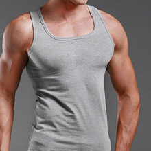 Men cotton fabric Summer Fashion Pure Color Sleeveless Leisure Sports Casual Solid Round neck Vest