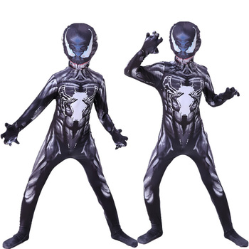 Halloween Venom Costume Cosplay Superheroes Kids Spider-boy man Bodysuit