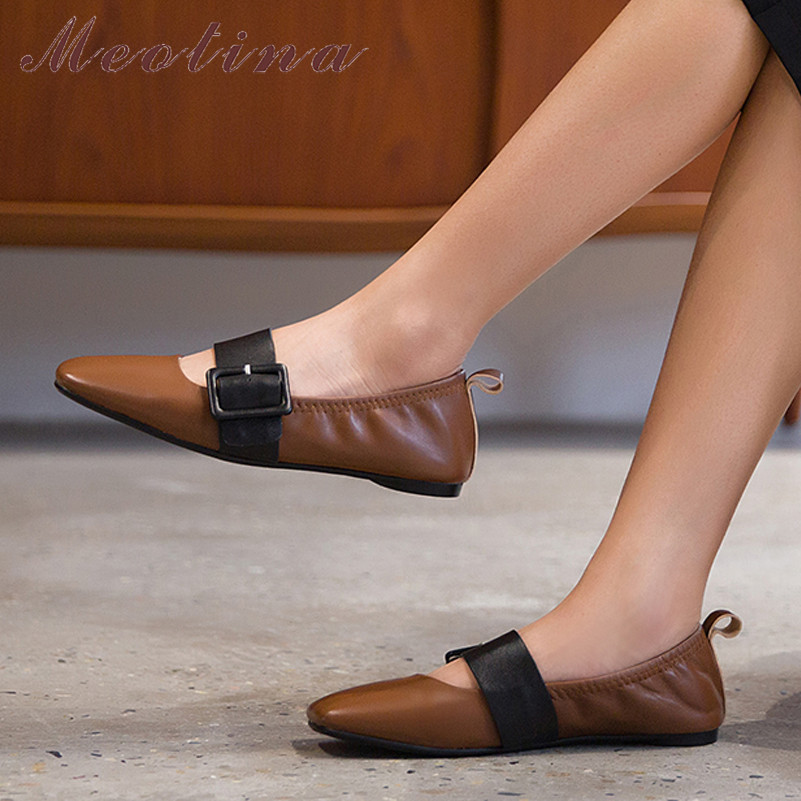 Meotina Real Leather Ballet Flats Women Shoes Natural Genuine Leather Flat Mary Janes Shoes Buckle Square Toe Shoes Lady Size 43