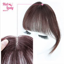 Air-Bangs Human-Hair Clip-In Brazilian Halo for Women Transparent Non-Remy Replacement