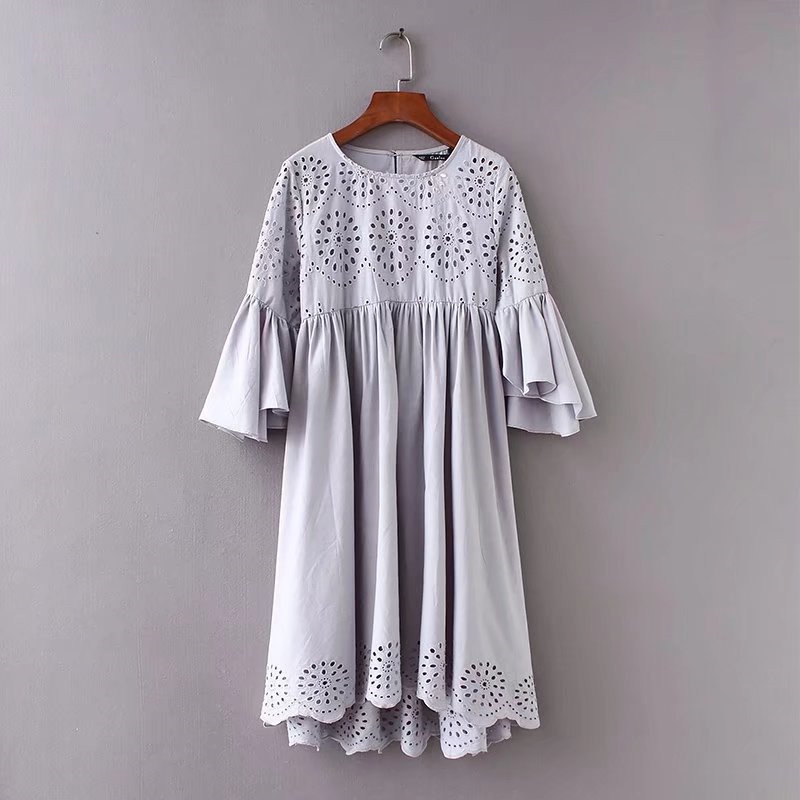 Z2018 Europe And America Summer New Style WOMEN'S Dress Flounced Sleeves Crew Neck Perforation Hollow Out Embroided Dress 720002