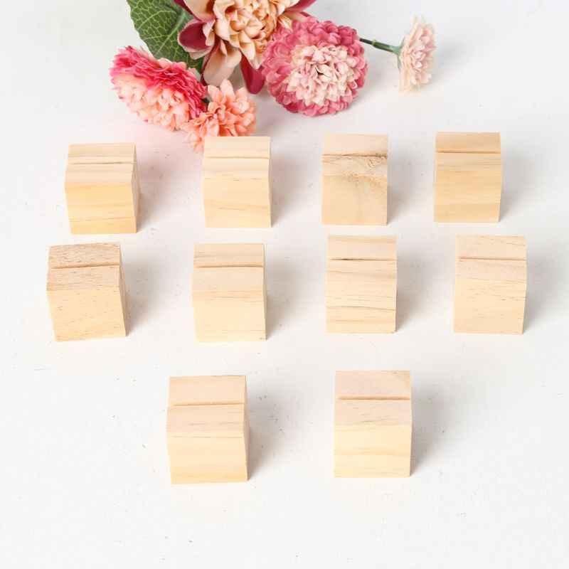 Держатель для карт из натурального дерева с цифрами, 10 шт., держатель для карт, зажимы для записей, офисный стол, вечерние Органайзеры