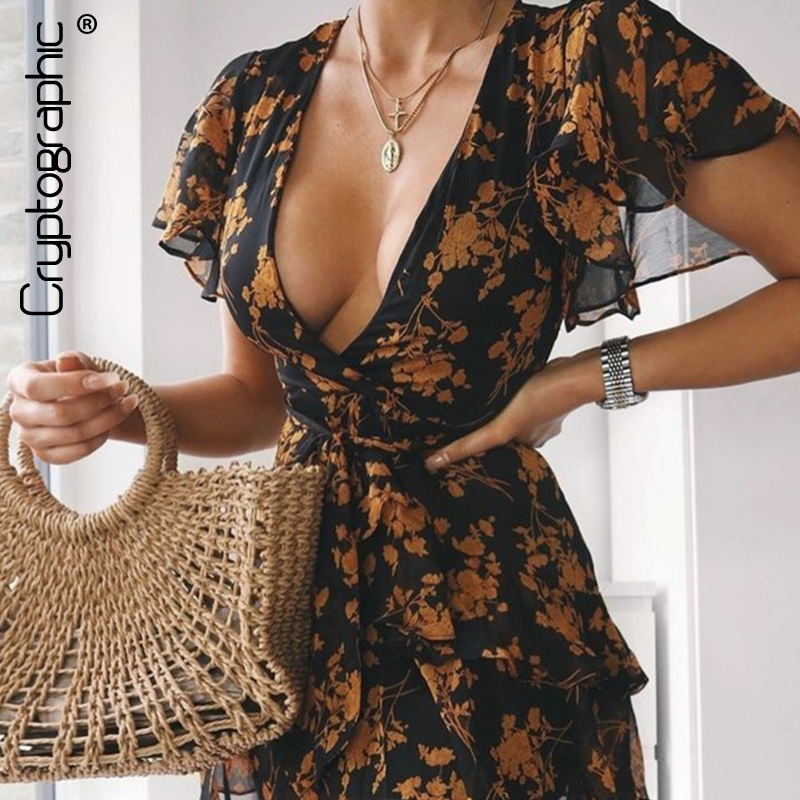 Cryptographic Floral Print Butterfly Sleeve Plunge V-Neck Mini Dress 2020 Summer Sundress Mesh Sexy Party Dresses Holiday