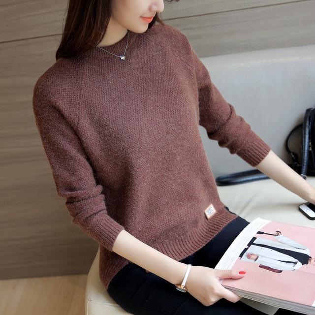 2019 Women Sweaters And Pullovers Autumn Winter Long Sleeve Pull Femme Solid Pullover Female Casual Short Knitted Sweater W1629 3