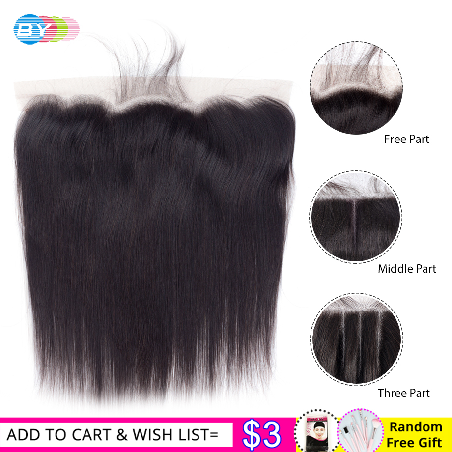 BY 13x4 HD Lace Frontal Closure Free Part Ear To Ear Lace Frontals Closure With Baby Hair Peruvian Straight Remy Human Hair