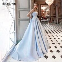 BECHOYER sevgiliye boncuklu saten düğün elbisesi mavi kolsuz A Line cepler mahkeme tren parti gelin kıyafeti Vestido de Noiva AC01