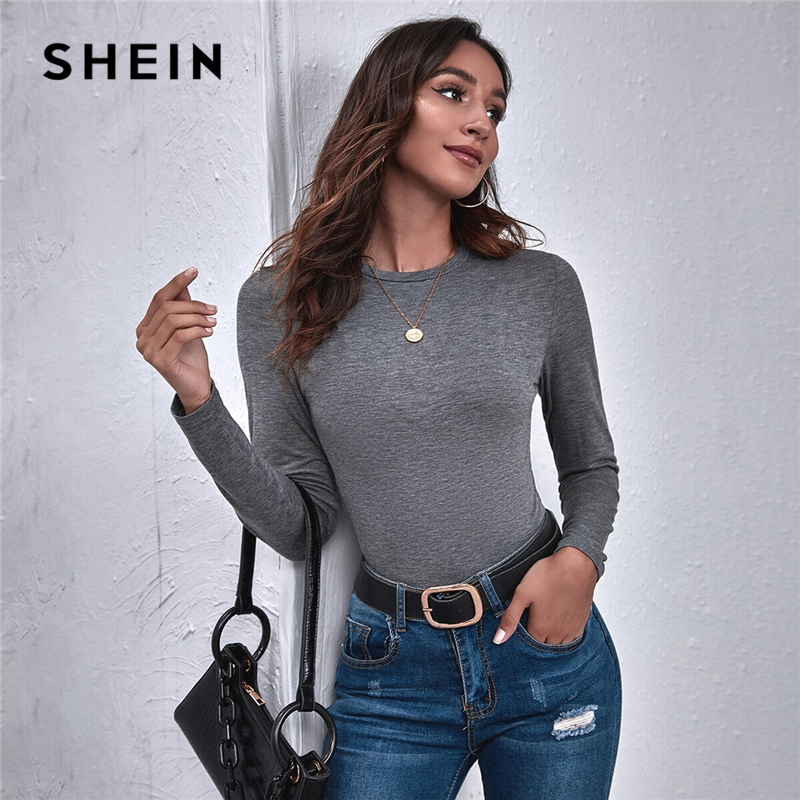 SHEIN Dark Grey Round Neck Solid Top Women Tees 2020 Autumn Basics Long Sleeve Solid Slim Fitted Casual T shirts|T-Shirts| - AliExpress
