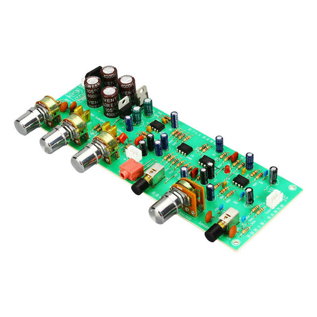 SOTAMIA Amplificador de tono, preamplificador de placa de Control de tonos 4558 Op Amp, ajuste de equilibrio de graves agudos, preamplificador de Control de volumen, reducción de ruido