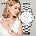 StarKing классические женские простые часы, автоматические часы из нержавеющей стали с белым циферблатом, наручные часы с автоматической датой...