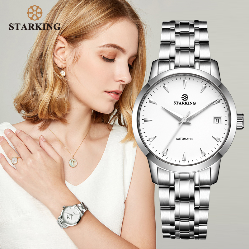 StarKing Classic Women Simple Watch Automatic Stainless Steel White Dial WristWatch Auto Date Ladies Mechanical Relogio Feminino