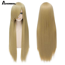Anogol Pure White Black Red Orange Blonde Grey Blue Pink Black Brown Yellow Long Straight Synthetic Wig For Women With Bangs
