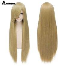Anogol peluca sintética lisa para mujer, pelo largo liso, blanco, negro, rojo, naranja, Rubio, gris, azul, rosa, negro, marrón, amarillo, con flequillo