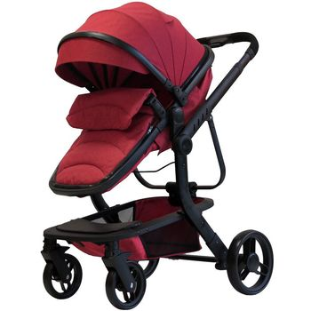 Luxurious Baby Stroller 3 in 1 Portable Travel Baby Carriage Folding Prams High Landscape Aluminum Frame Car for Newborn Baby image