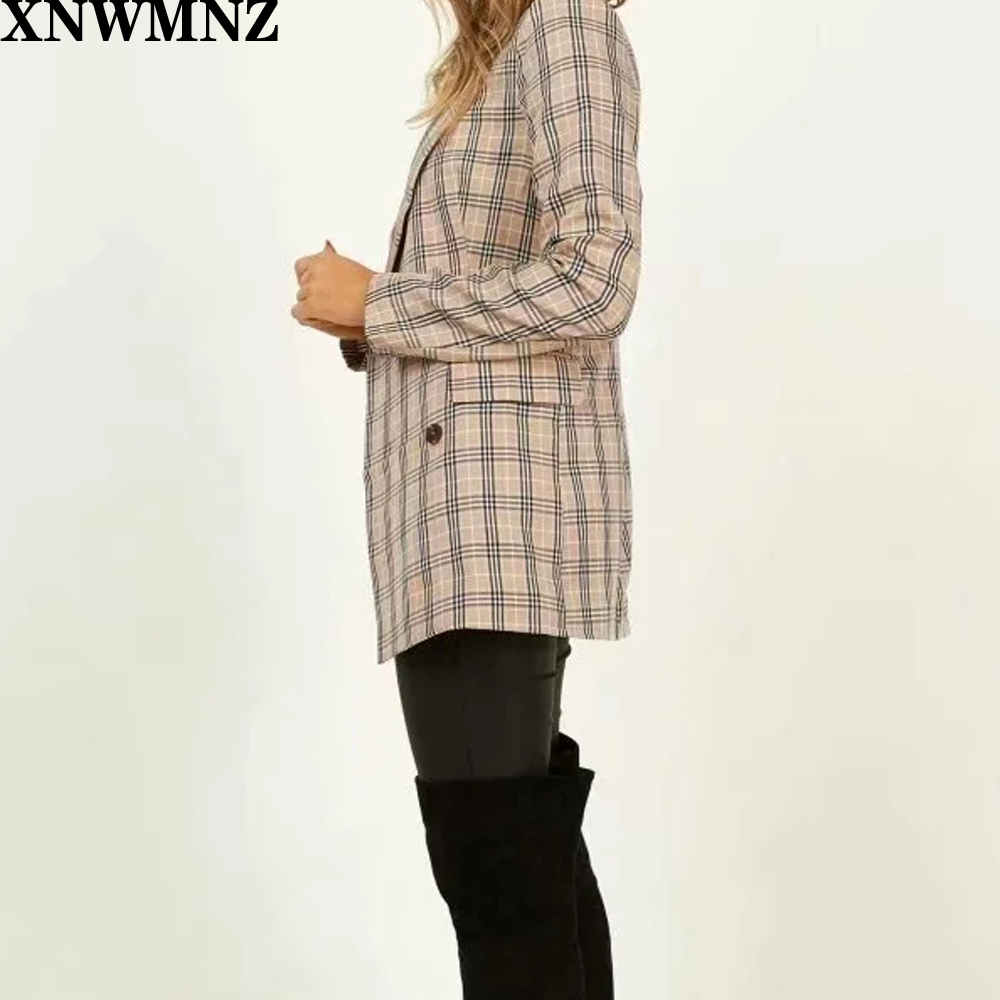 XNWMNZ Za Office Ladies Notched Collar Plaid Women Blazer Double Breasted Autumn Jacket 2020 Casual Pockets Female Suits Coat
