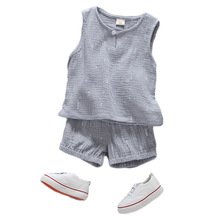 Summer Solid Sleeveless Children Clothing Sets for Boy Cotton and Linen Vest Tops+Pants baby vests Boy Girl Clothes Outfits