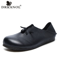 DRKANOL New Shoes Women Flat Loafers 2020 Fashion Handmade Soft Genuine Leather Slip On Moccasins Women Flats Casual Shoes Black