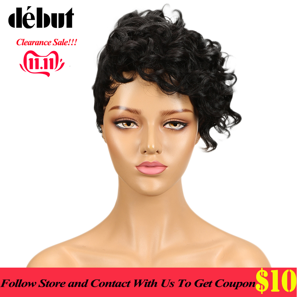 Debut Short Human Hair Wigs With Bangs Fantasy Wave Wavy Curly Human Hair Wigs For Black Women Machine Made Wig Free Shipping